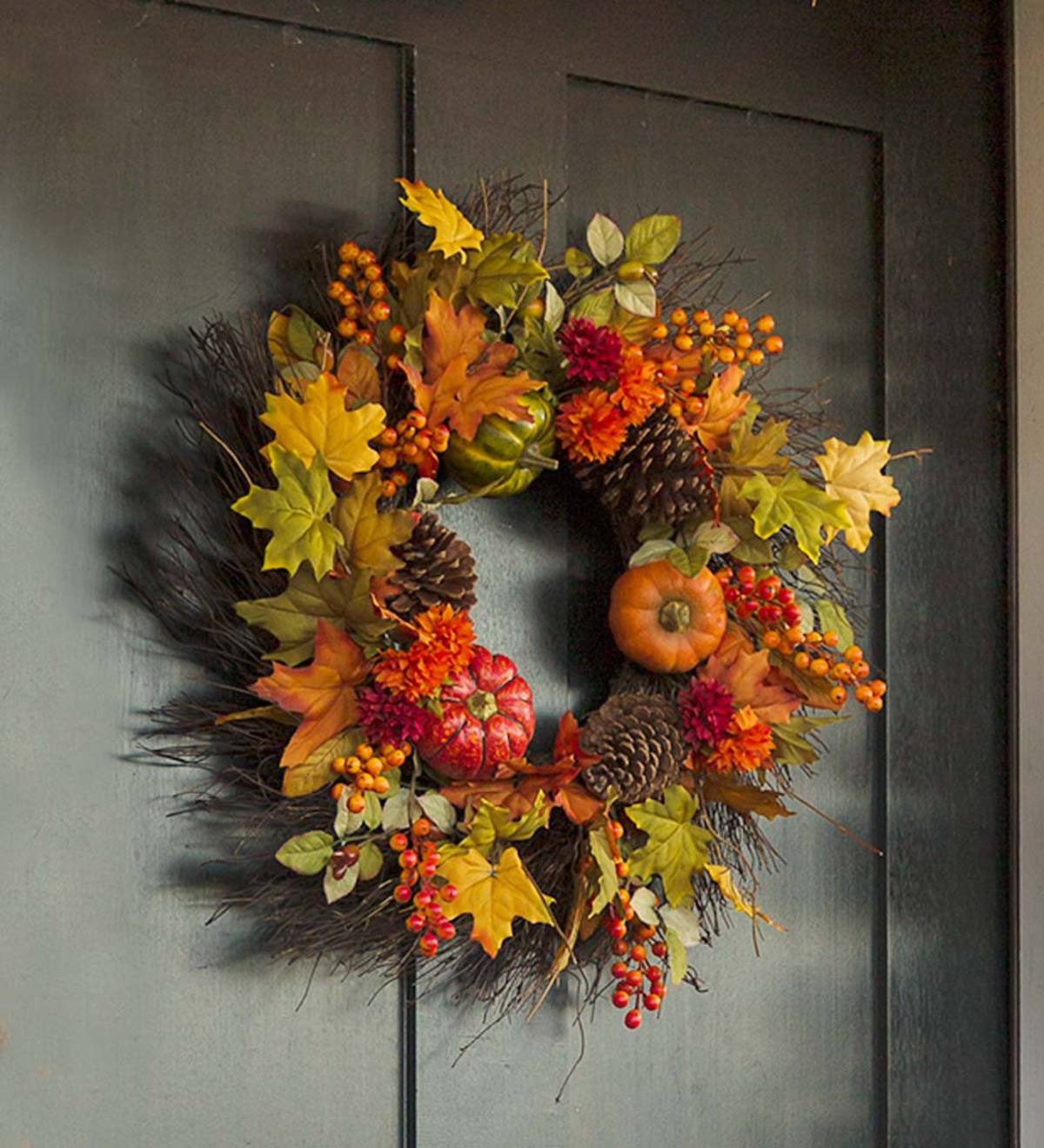 Pumpkins and Pine Cones Fall Wreath