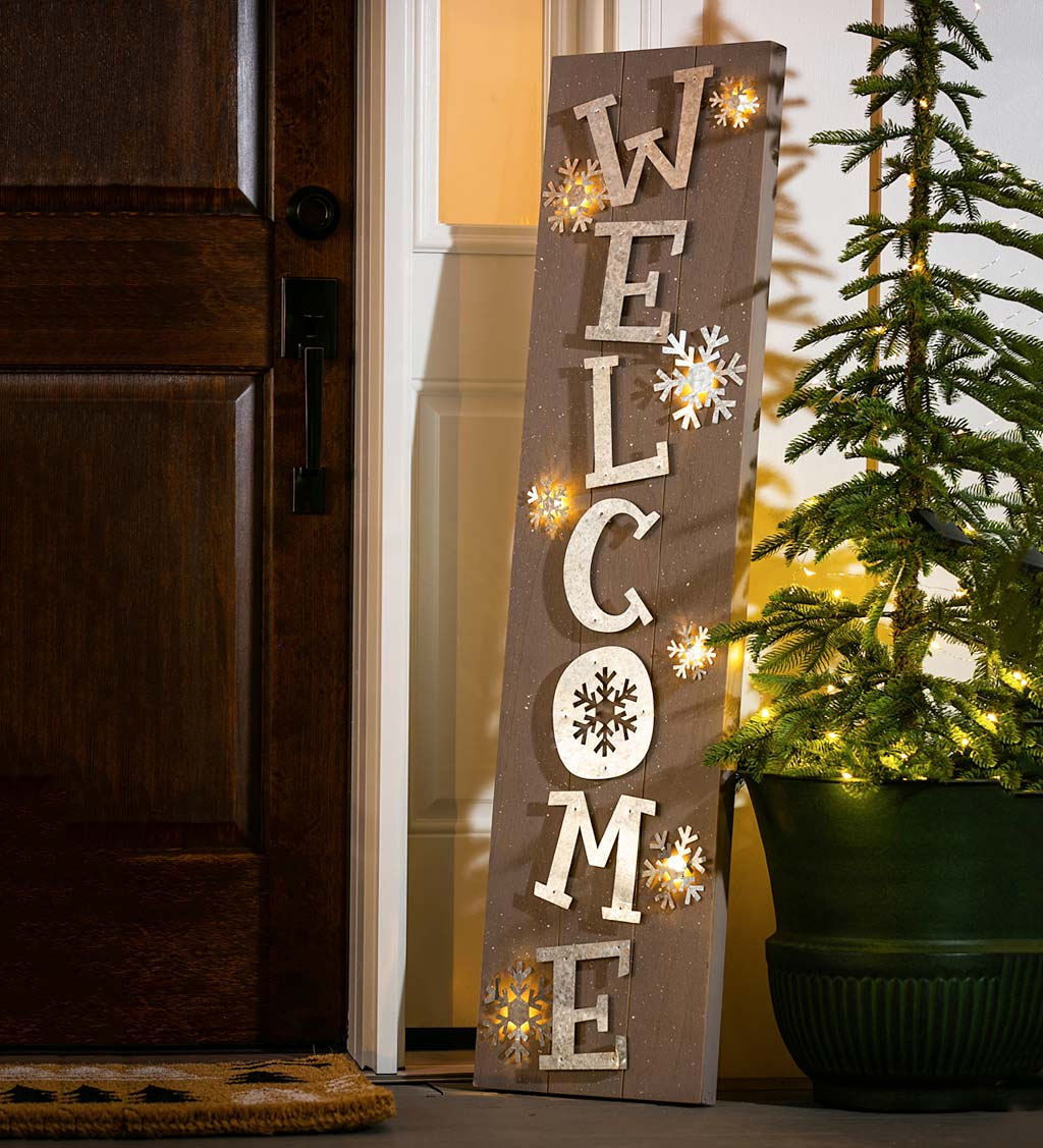Lighted Winter Welcome Sign Porch Leaner
