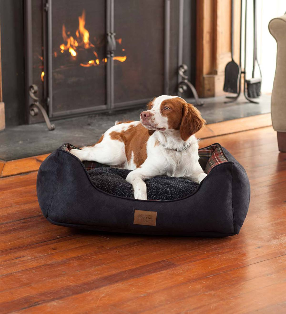 Grey Stewart Plaid Pet Kuddler Pet Bed, Large