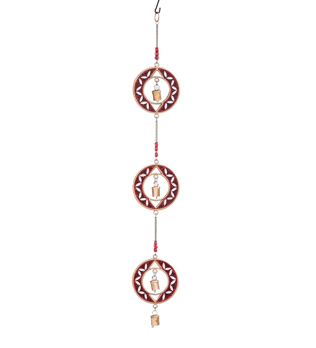 Handcrafted 3-Tier Beaded Metal Wind Chime swatch image