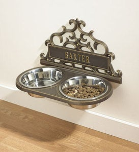 Personalized Wall-Mount Pet Feeder - Black with Gold