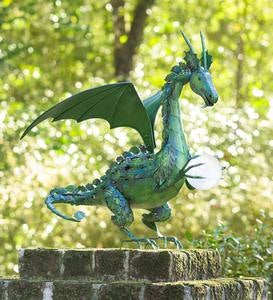 Green Dragon Statue with Solar Pearl