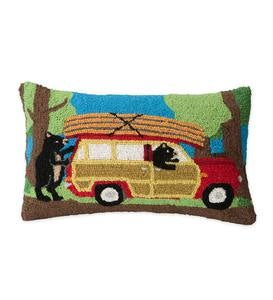 Hand-Hooked Wool Canoeing Bears Throw Pillow