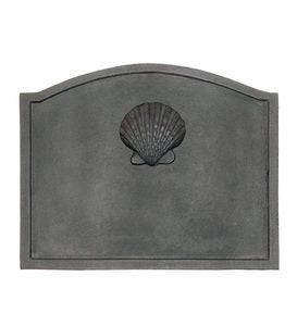 Shell Cast Iron Fireplace Fireback In Matte Black Finish