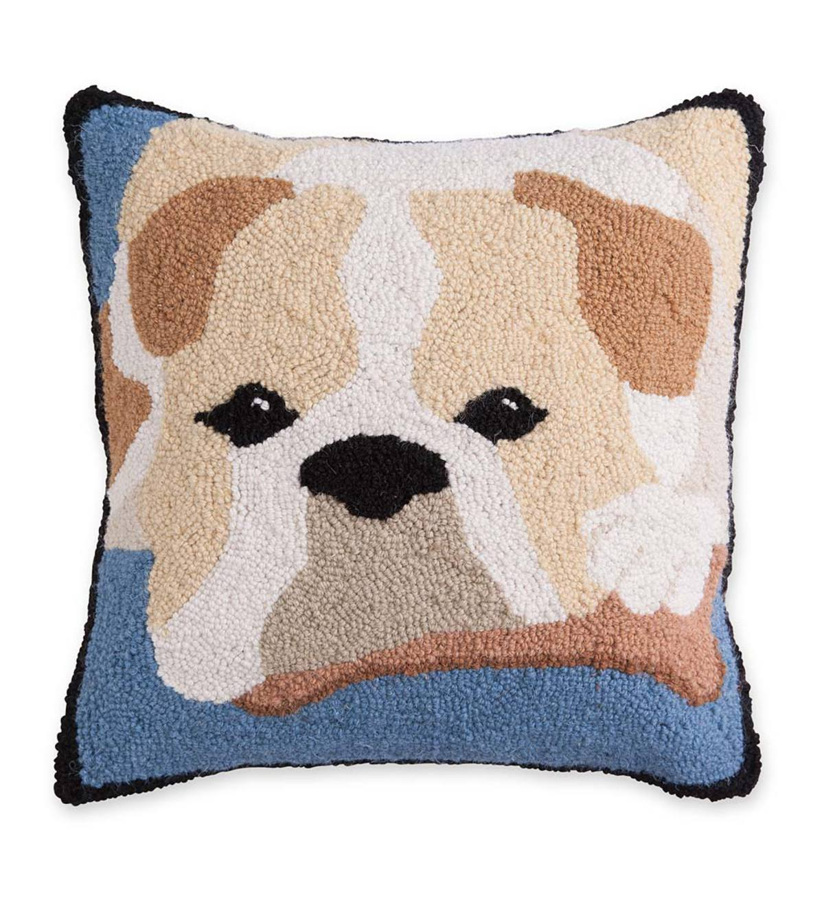 Hooked Wool Bulldog Throw Pillow