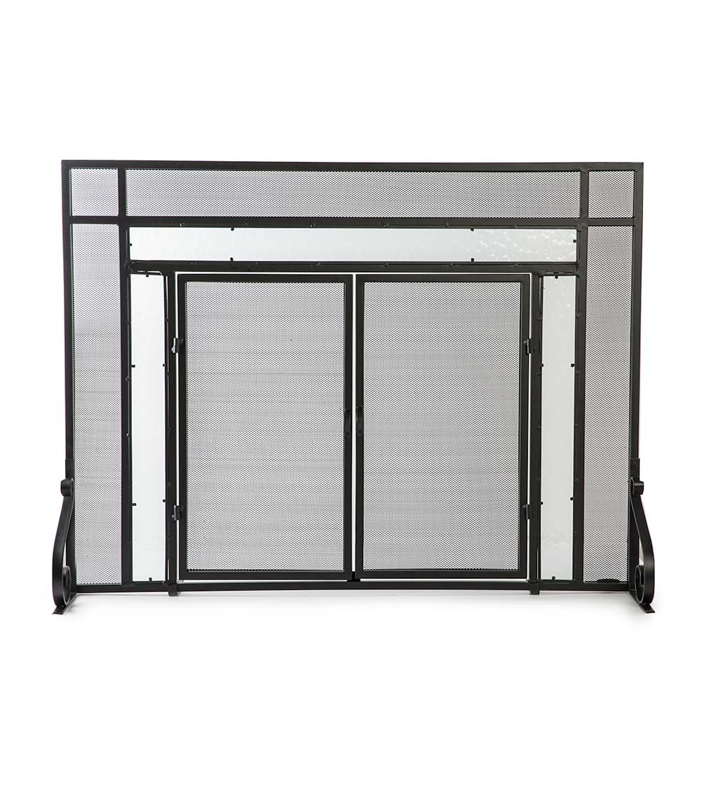 2 Door Steel Fireplace Screen W Tempered Glass Accents In Black