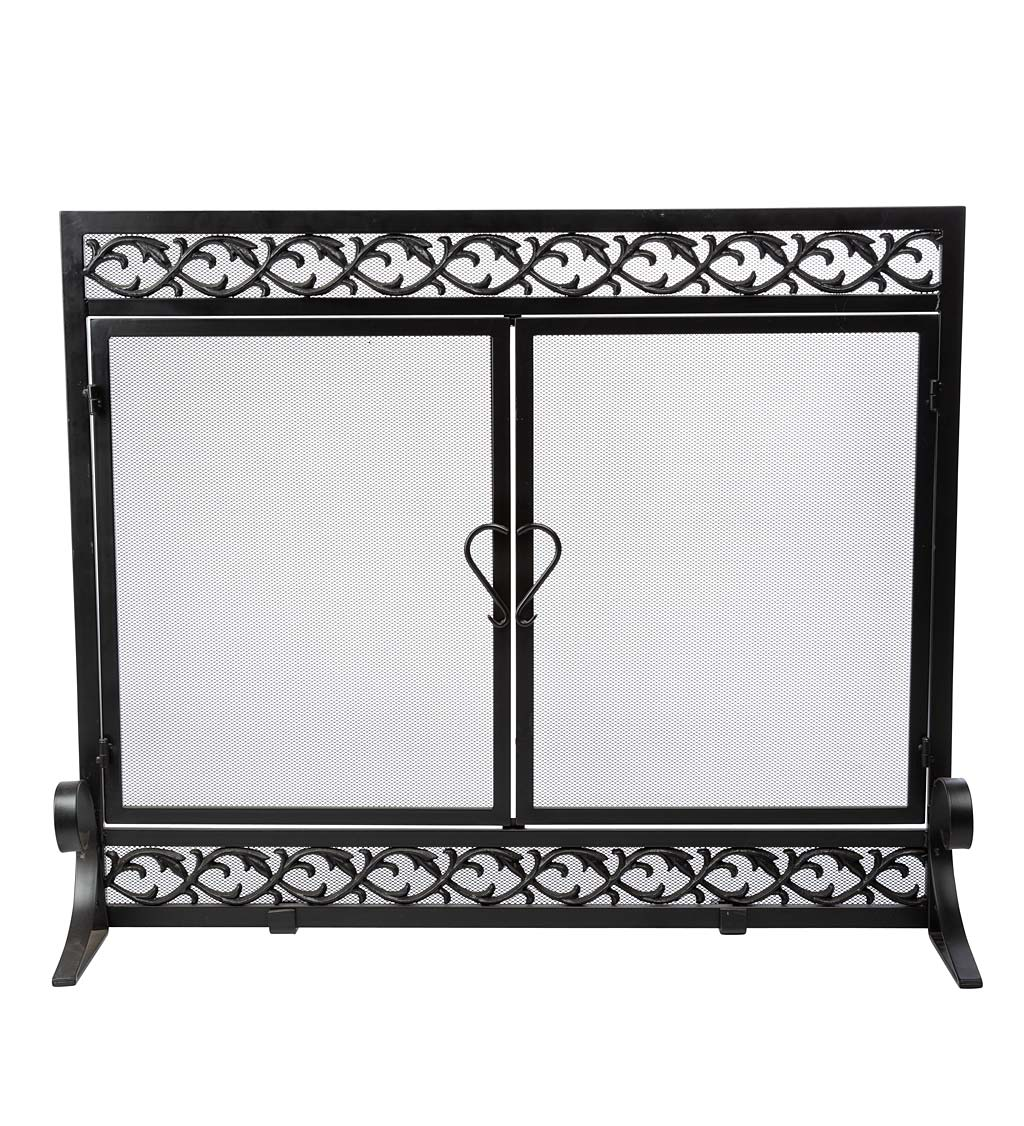 Small Cast Iron Scrollwork Fireplace Screen With Doors In