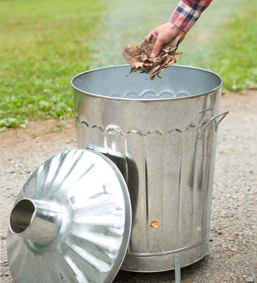 Trash Can Incinerator. Outdoor Fall Cleanup