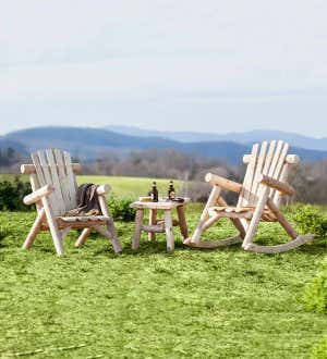 Heavy Duty Sun Lounger, Usa Made Northern White Cedar Log Outdoor Furniture Plowhearth