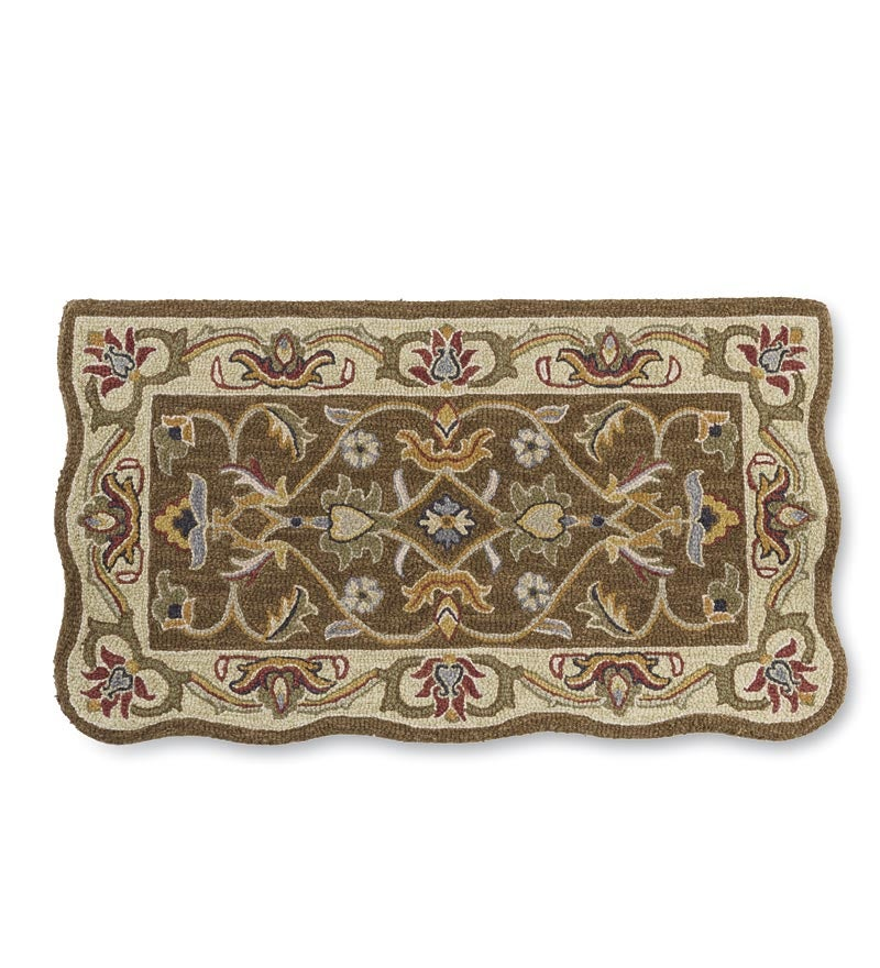 Hearth Rugs: HandTufted Fire Resistant Scalloped Wool McLean Hearth Rug