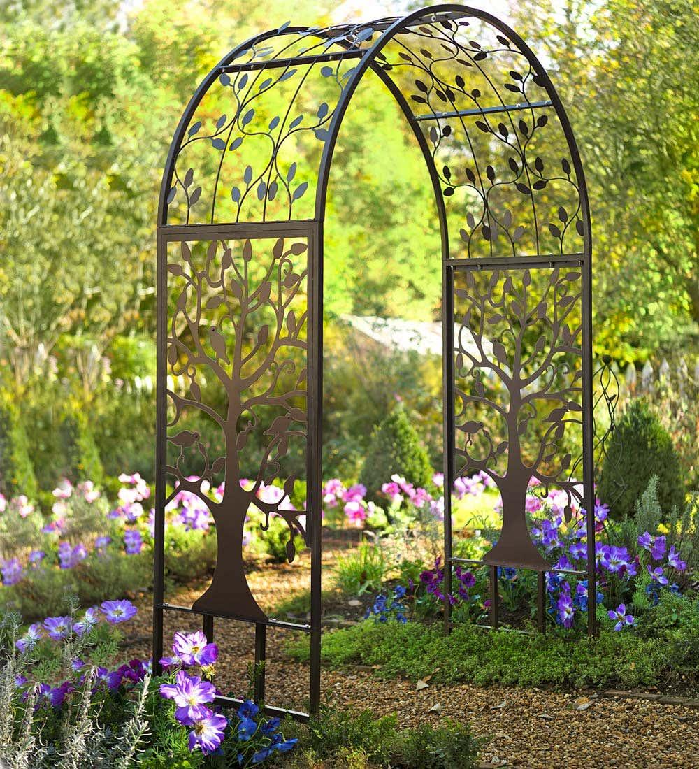 Metal Garden Arbor with Tree of Life Design