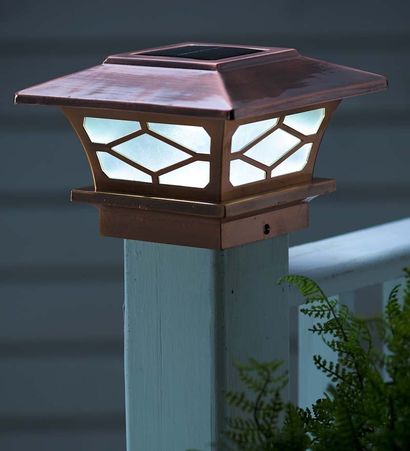 Classic-Style LED Solar Post Cap Lights For Fench Posts Or