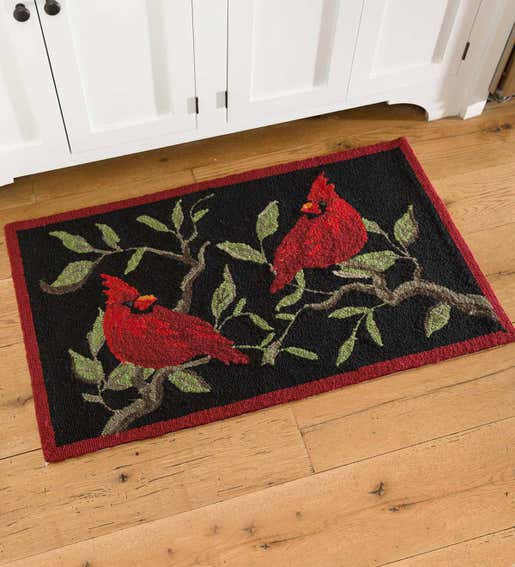 Image of Red Cardinal Hooked Rug. Shop Holiday Pillows and Rugs