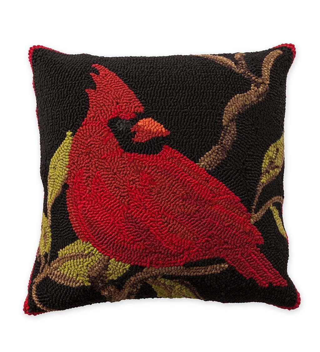 Indoor/Outdoor Hooked Cardinal Throw Pillow
