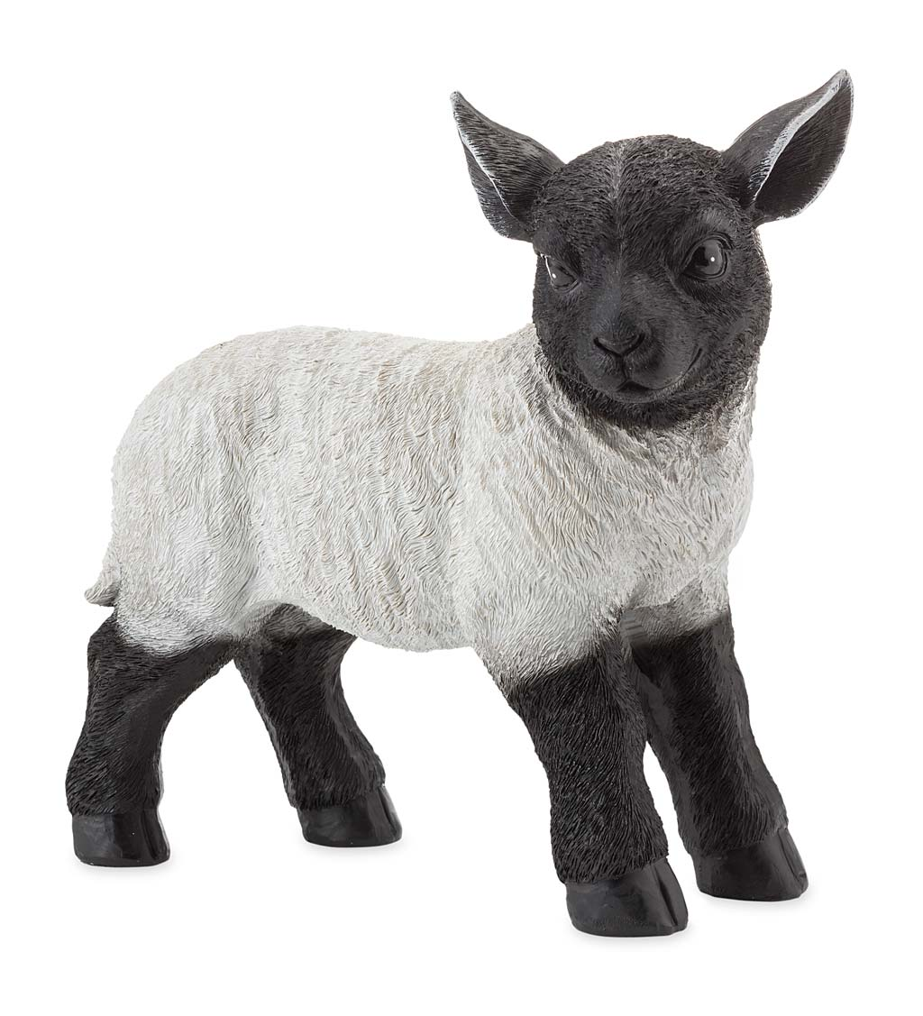 Standing Lamb Suffolk Sheep Resin Garden Statue