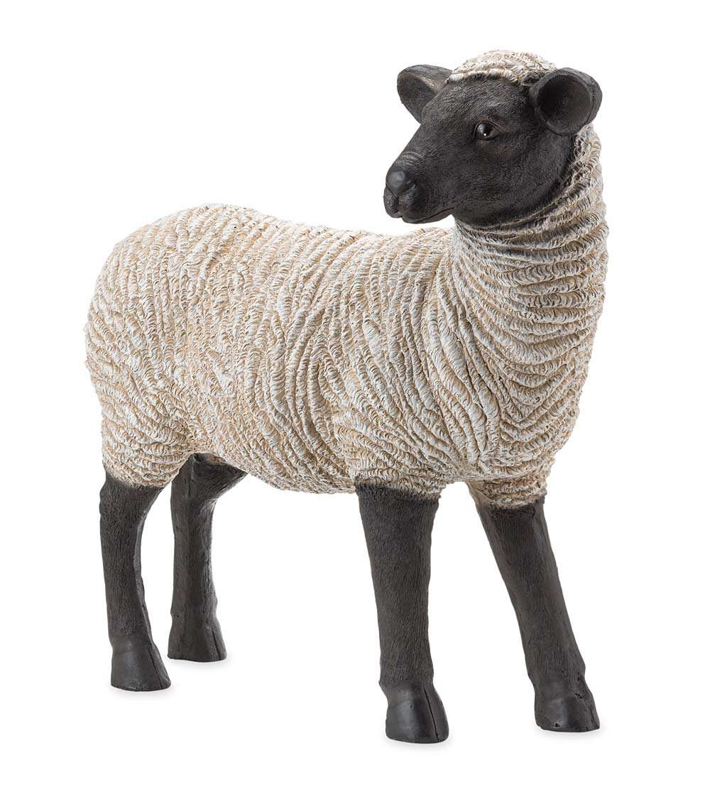 Standing Suffolk Sheep Resin Garden Statue