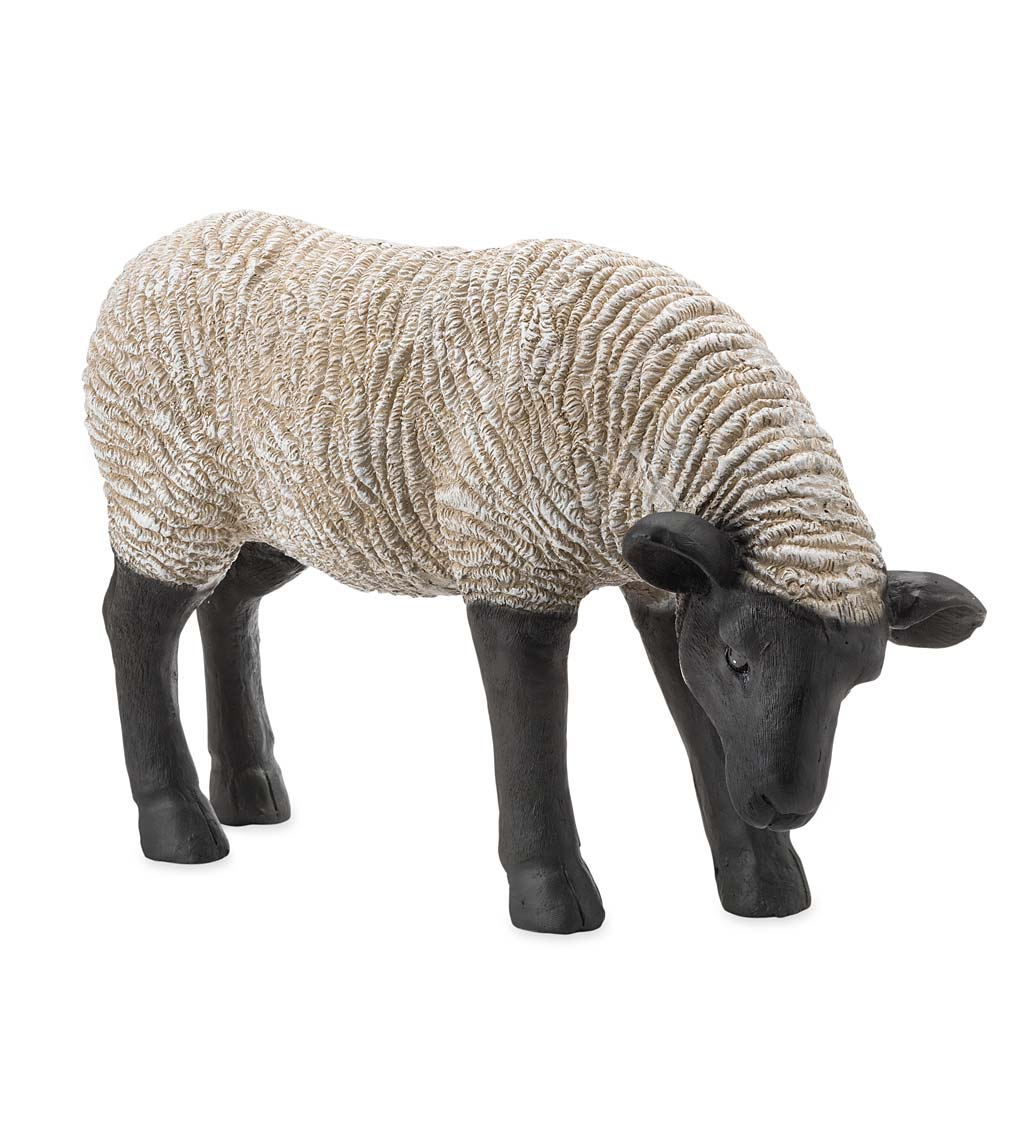 Grazing Suffolk Sheep Resin Garden Statue