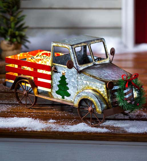 Image of Vintage Metal Christmas Red Truck with Lights