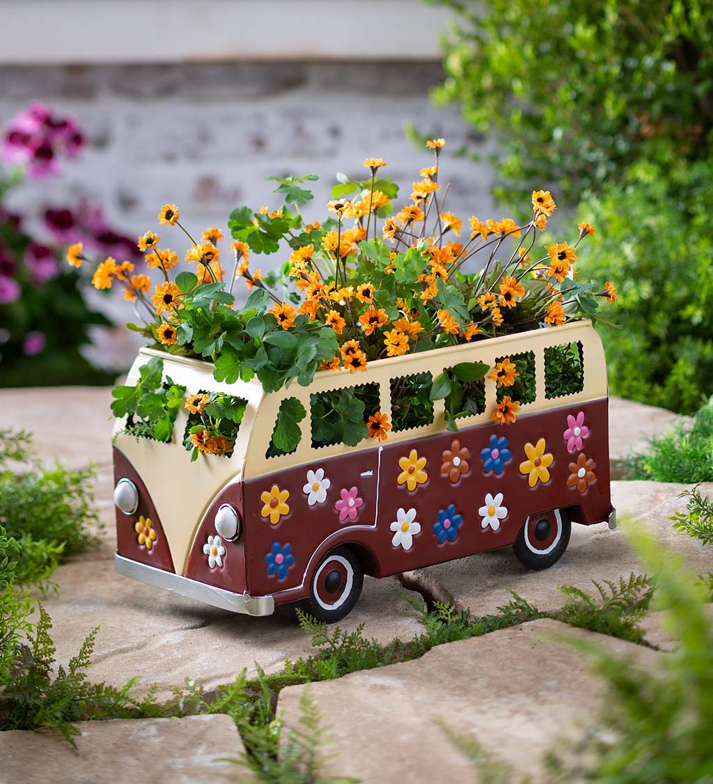 Metal Flower Power Bus Planter
