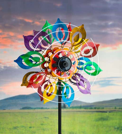 Multicolor Lily Flower Solar Wind Spinner. Garden Accents