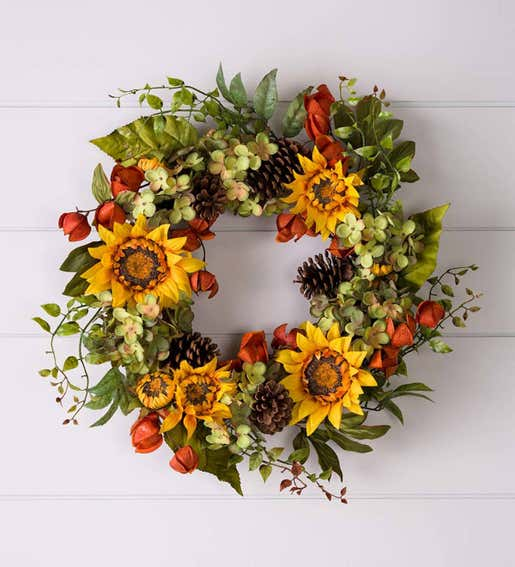 Fall Sunflower Wreath. Fall Decorations