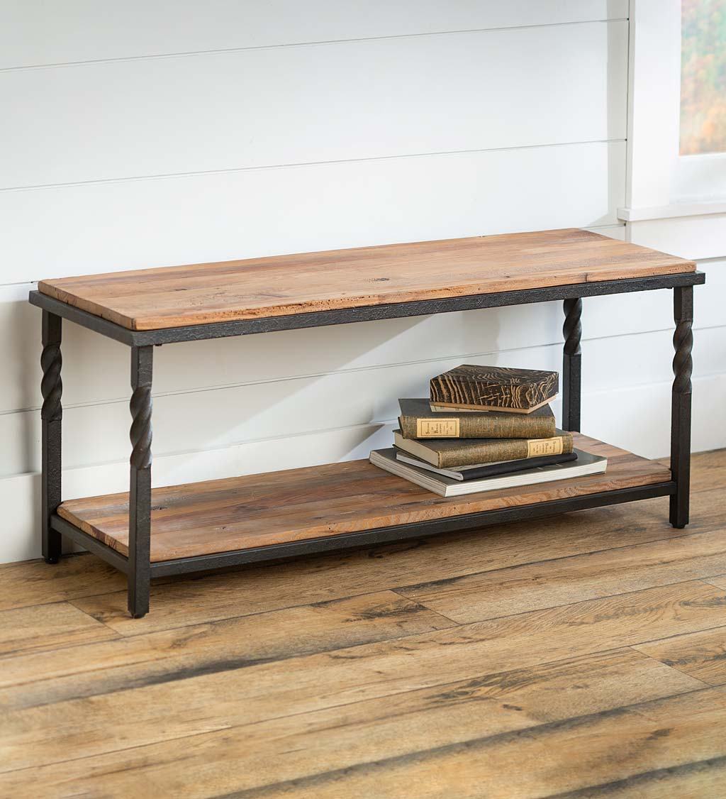 Deep creek bench table with metal frame and rustic wood