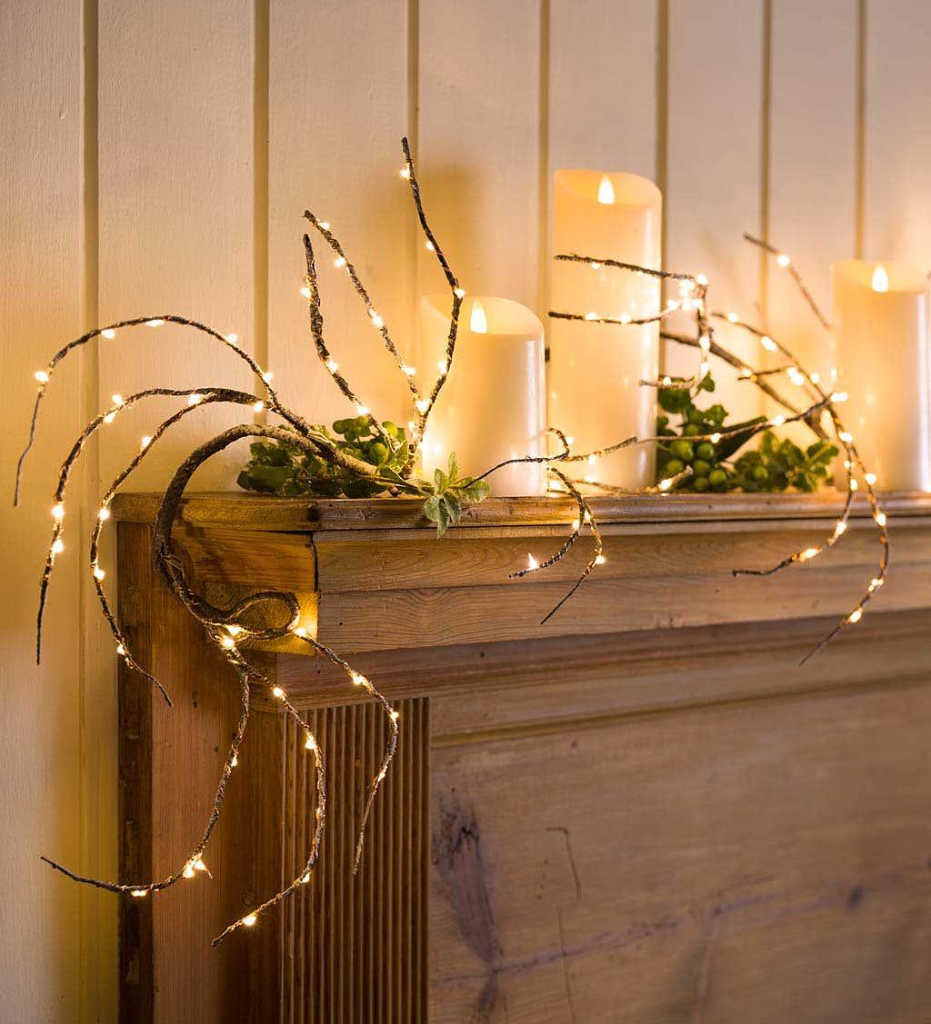 Indoor/Outdoor Birch Garland with 165 Micro Lights, 5'L