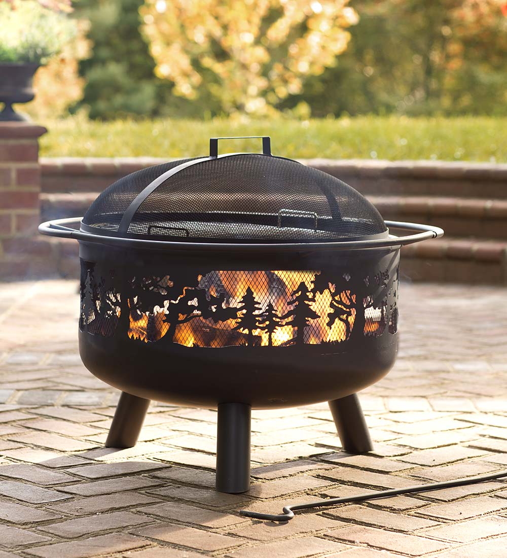 "30"" Dia x 23""H Timberline Forest Design Wood-Burning Outdoor Fire Pit"
