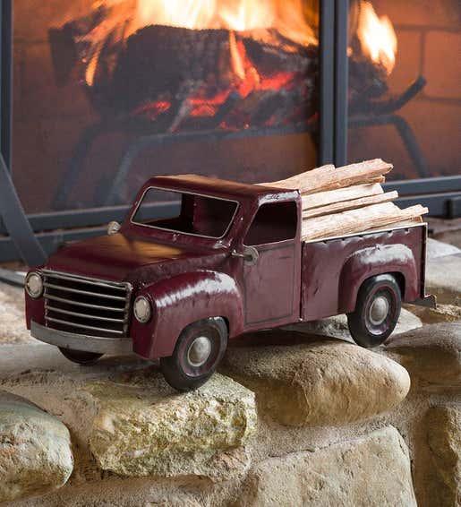 Image of Vintage Metal Truck Fatwood Holder with Fatwood. Shop Hearthside Gifts