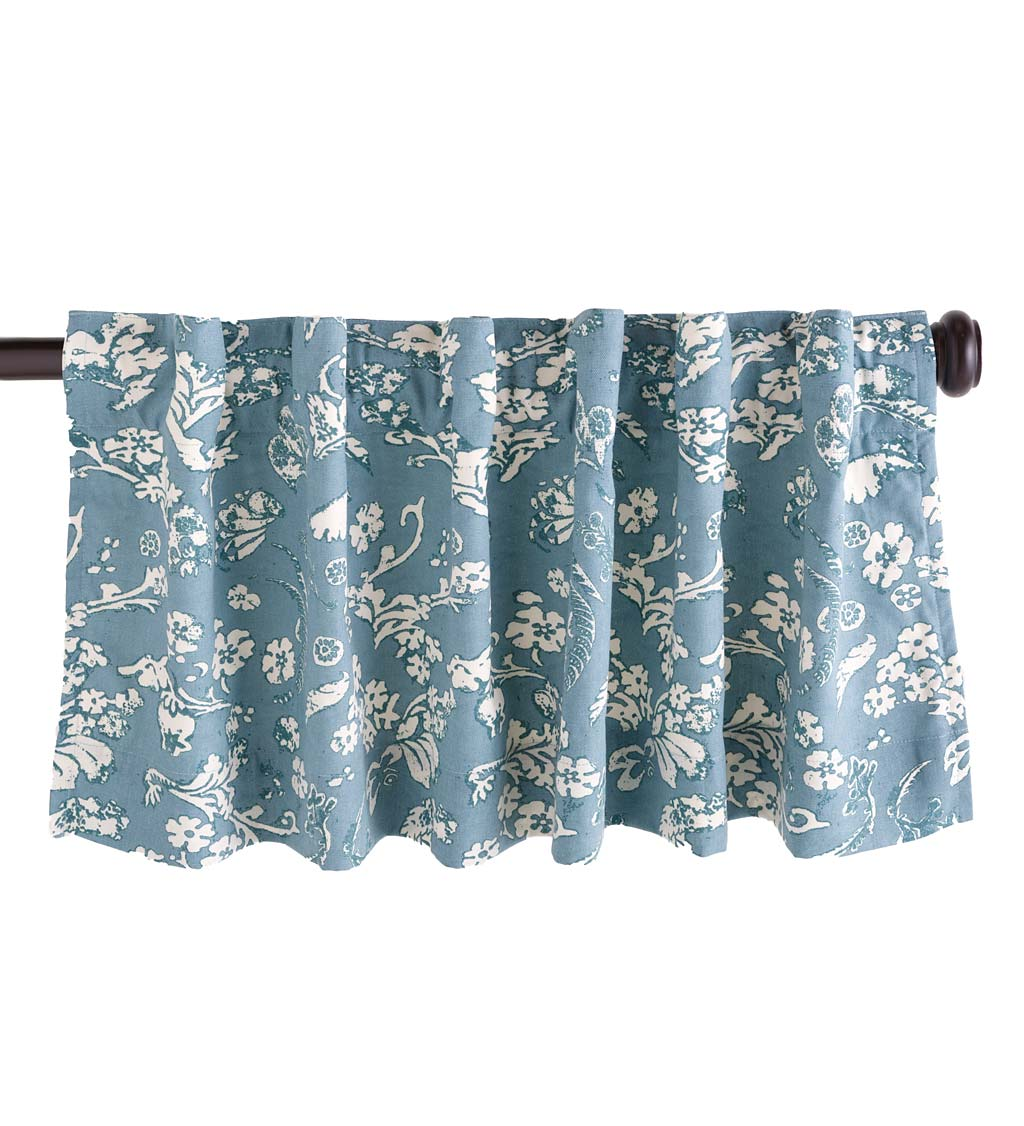 "42""W x 14""L Floral Damask Rod-Pocket Insulated Curtain Valance, Blue"