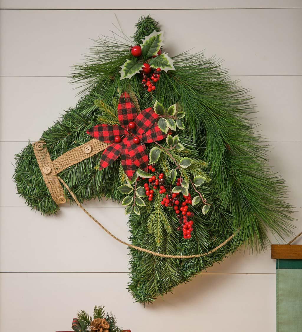 Holiday Horse Faux Foliage Hanging Wall Art Plowhearth