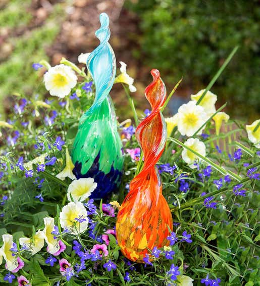 Image of Blown Glass Plant Watering Stakes. Shop Gifts for Gardeners